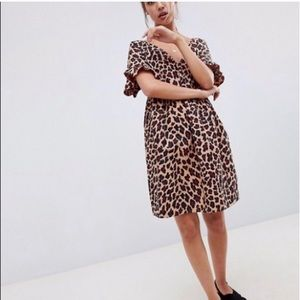 NWT Asos cotton leopard dress.Sz 8.